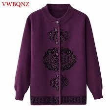 Middle aged old <b>women knitwear cardigan autumn winter</b> loose big ...
