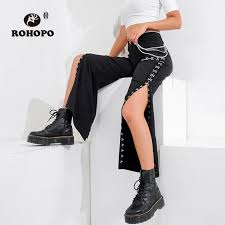 2019 <b>ROHOPO</b> Black Punk Flare Pant High Waist Hook Buckle ...