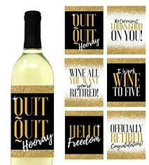 Wine Bottle Stickers 6 Premium Retirement Party Gift Wine Bottle Labels Or Stickers For