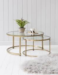 golden metal legs and clear round antique glass coffee table set