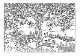 Small Picture Items similar to Printable Tree River Nature Scene Coloring Page