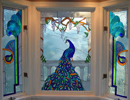 Decorations:Peacock On Stained Glass Window Film With Some Decoration Jazz  Up Your Window with