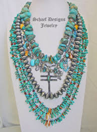 schaef designs blue turquoise orange spiny oyster sterling silver cross charm necklace new mexico