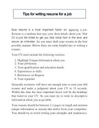 Resume Writing Tips Resume Cover Letter 8 Best Resume Writing Tips ...