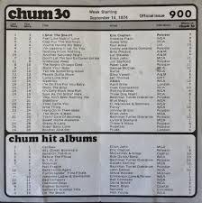 1050 Chum Chart Sept 14 1974 The 1050 Chum Charts Were