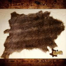 Faux Bearskin Rug Brown Fallow Deer Hide Throw Faux Fur Pelt Accent Rug Bear