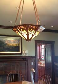 arts crafts craftsman copper a james mattson coppercraft chandelier graces the dining