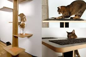 modern cat tree or contemporary cat furniture made of wood with stairs