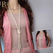 Fashion Long <b>Pearl Necklaces 2019</b> Simulated For <b>Women</b> Sweater ...