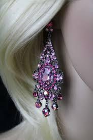 black filigree victorian ornate pink crystals chandelier dangle post earrings 3 5 dangle length