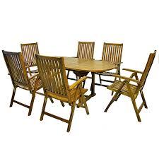 Divero Set Gartenmöbel Sitzgruppe Tisch Ausziehbar 6 Stühle Akazie