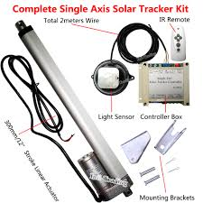 complete single axis sunlight track solar tracker sun power kit 12 linear actuator controller for 100w solar panel module in solar controllers from