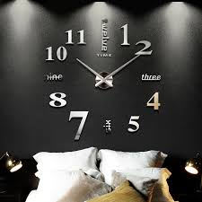 2018 new home decoration big mirror wall clock