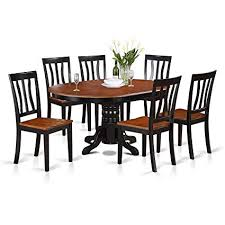east west furniture avat7 blk w 7 piece dining table set