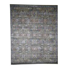 8 x10 wool and silk hi lo pile tabriz influence oriental rug image
