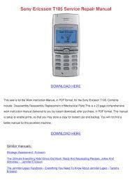 Sony Ericsson T105 Service Repair ...