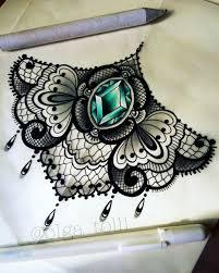 оригинальный универсальный эскиз тату на грудь 412