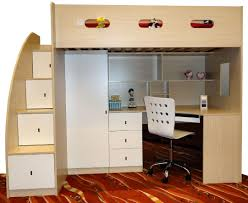 wood and metal loft bed which is having long narrow desk most seen gallery featured in bed desk set