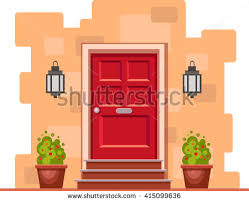 yellow brick house red door. red front door on the yellow brick wall with two pots plants and lights. house