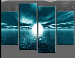 large teal turquoise abstract canvas pictures split multi 4 panel regarding teal canvas wall art plan  on large wall art teal with large teal seascape sunset canvas pictures wall art split multi 4