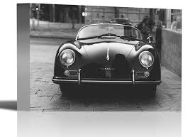 porsche convertible vintage car art print wall decor