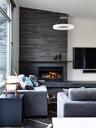 diy electric fireplace living room transitional with contemporary chandelier gray couche