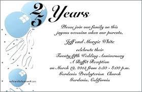 25th wedding anniversary invitations invitation wording exles in hindi template