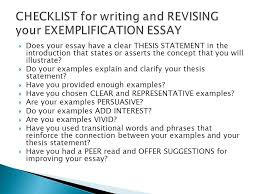 the exemplification essay ppt video online checklist for writing and revising your exemplification essay