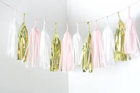 gold blush pink white tassel garland nursery decor valentines day party high chair banner baby shower decorations