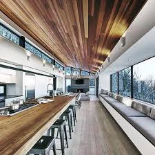 open concept kitchen and living room modern wood ceiling ideas