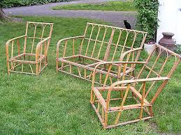 I Beautiful Vintage Bamboo Rattan Furniture Set Sofa Couch 2 Chairs 1920  1930u0027s