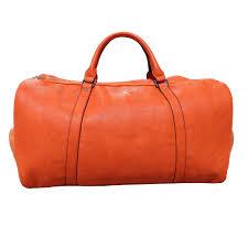 orange leather duffle bag sole