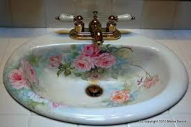 porcelain bathroom sink with roses hand painted by marta bacon can paint to match the colors of your bathroom on photo for larger view