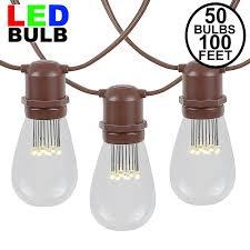 100 Light Warm White C9 String Set 50 Led S14 Warm White Commercial Grade Light String Set On 100 Of Brown Wire