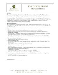 Housekeeping Job Description For Resume