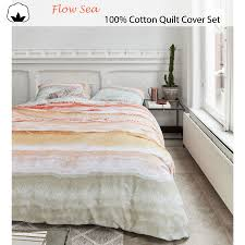 details about flow sea 100 cotton quilt cover set by at home queen king super king