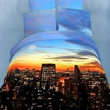 sky blue rust orange and chocolate brown new york city nyc sunset scene print modern chic full size 3d design bedding sets