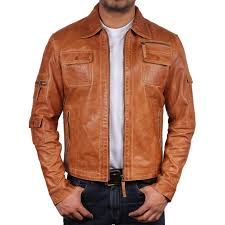 men s tan leather jacket hazard loading zoom