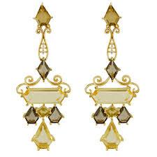 18k yellow gold ornate citirine diamond chandelier earrings