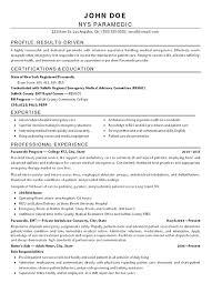 Paramedic Resume Template Emt Paramedic Resume Example Free
