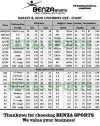 Karate Uniform Size Chart Boxing Muay Thai Mma Judo Karate Taekwondo Supplies