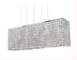 yue jia luxury contemporary modern linear rectangular dining room pendant light flush mount crystal chandelier lighting fixture l31 5 xw7 8 xh11 8