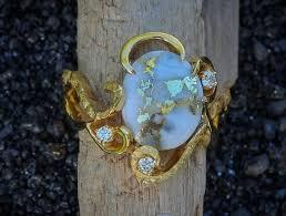 custom gold quartz alaskan gold nugget ring with diamonds