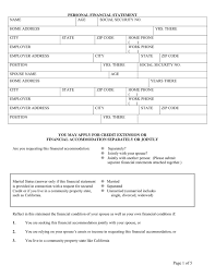 Personal Financial Statement Template In Word And Pdf Formats