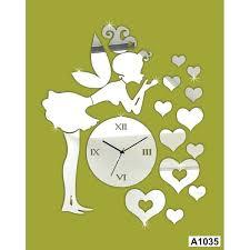 diy wall clock three dimensional hearts girl mirror wall clock wall sticker diy interior decorating wall