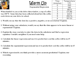 warm up exponential regression