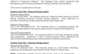 Physical Therapy Job Description Template Assistant Resume