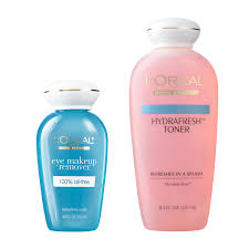 loreal paris skincare eye makeup remover and hydrafresh toner gift set of 2
