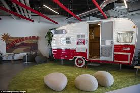 the google office. A Retro Camping Trailer Is Available To Host Small Meetings In Side The Google Offices Office