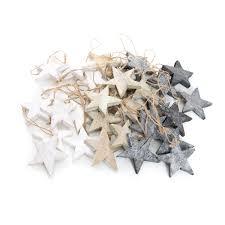 Weihnachts Anhänger Set 30 Holz Sterne Weihnachtssterne Shabby Vintage In Grau Weiß Natur Braun Ca 7 Cm Je 10 Stück Baumschmuck Christbaumschmuck